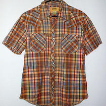 Urban Outfitters Bdg Brown Plaid Pearl Snap Front Short Sleeve Shirt Men's Sz S Photo