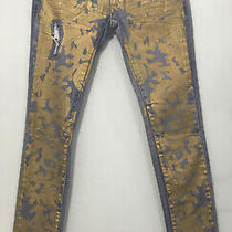 Urban Outfitters Blank Nyc Gold Paint Splatter Denim Skinny Jeans Size 26 -D12 Photo