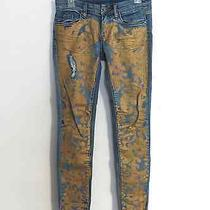 Urban Outfitters Blanknyc Gold Paint Splatter Denim Straight Jeans 90s Grunge Photo