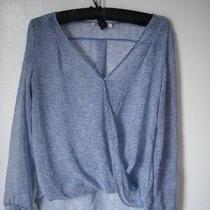 Urban Outfitters Blue & White Checkered Cross Drape Hi Lo Sheer Shirt Size S  Photo