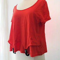 Urban Outfitters Bright Neon Orange Grunge Shirt Top With Suspenders Sz Large L Photo