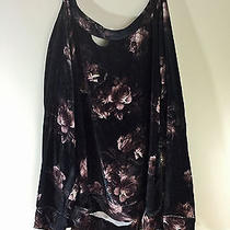 Urban Outfitters Chaser Velvet Grunge Destroyed Floral Sweater L Photo