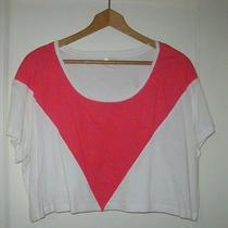 Urban Outfitters Cheap Monday White Red Grunge Festival Chevron Crop Top Tee M Photo
