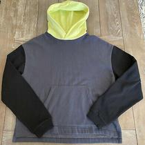 Urban Outfitters Color Block Hoodie Sweatshirt Men's Medium Gray Black Neon Hood Photo