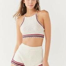 Urban Outfitters Crochet Beach Halter Neck Top and Shorts Coord Size Small Cream Photo
