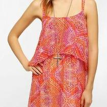 Urban Outfitters Ecote Double Layer Chiffon Festival Dress Orange Sz M Womens  Photo