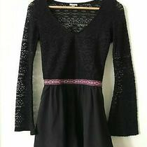 Urban Outfitters Ecote Xs Black Knit Romper Bell Sleeve Boho Crochet Photo