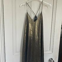 Urban Outfitters Gold Metallic Hammered Satin Slip Dress Size Small Strappy Photo