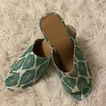 Urban Outfitters Green Leaf Print Heeled Mules 9 Photo