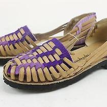 Urban Outfitters Hip Tipico Womens Santander Flats Sandals Tan Violet 5 New Photo