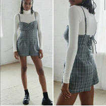 Urban Outfitters Isaac Plaid Romper Lace Up Back Gray Blue L Photo