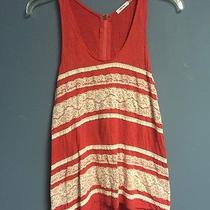 Urban Outfitters Kimchi Blue Ladies Knit Top Tank Red W/ White Lace Trim Xs Zip Photo