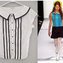 Urban Outfitters Lux White 100% Cotton Ribbon Stripe Audrey Hepburn Blouse Small Photo