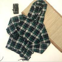 Urban Outfitters Men's Plaid Hoodie Blue Green Kangaroo Pocket Long Sleeves Sm Photo