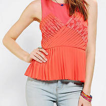 Urban Outfitters Pins and Needles Accordion Pleat Tank Top in Coral Xs Photo