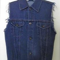 Urban Outfitters Renewal Blue Denim Trucker Vest Frayed Vintage 80s 90s Grunge M Photo