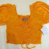 Urban Outfitters Shay Smocked Puff Sleeve Red Cropped Top Xs Size 0 Orange Photo