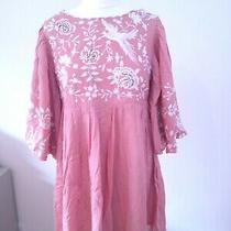 Urban Outfitters Size 10 Uk Embroidered Baby Doll Puff Sleeve Dress Pink Photo