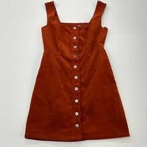 Urban Outfitters Snap Front Corduroy Dress Women's Us 2 Sleeveless Burnt Orange Photo