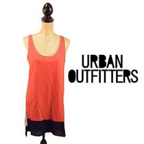 Urban Outfitters Sparkle and Fade Coral Navy Trim Sleeveless Dress - Medium Photo