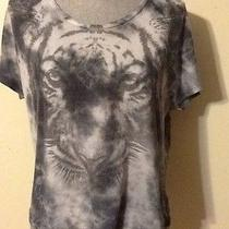 Urban Outfitters Sparkle & Fade Top Sz Xs Gray Tiger Loose Fit Crop Short Sleeve Photo
