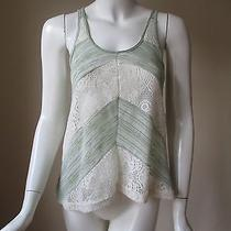 Urban Outfitters Staring at Star Light Green Lace See Through Loose Fit Top Xs Photo