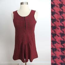 Urban Outfitters Sz Extra Small Red Black Houndstooth Mini Dress Goth Grunge Photo