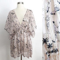 Urban Outfitters Sz Medium Light Pink See-Through Graphic Silk Kimono Blouse Top Photo