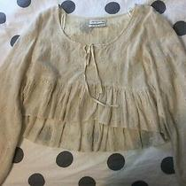 Urban Outfitters Tan Embroidered Cotton Long Sleeved Peasant Top S Photo