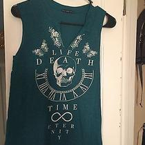 Urban Outfitters Teal Skull Tank Top Size Small Photo