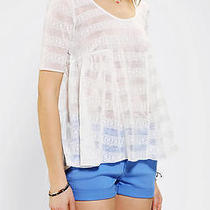 Urban Outfitters Tela Burnout Lace Babydoll Tee White Xs Photo