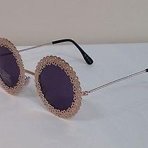 Urban Outfitters Unique Round Scalloped Gold Metal Frame Designer Sunglasses Photo