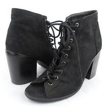 Urban Outfitters Uo Black Faux Suede Perforated Lace Up Peep Toe Bootie Heels 10 Photo