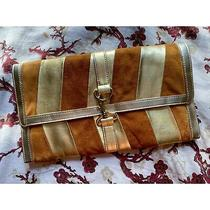 Urban Outfitters Uo Gold Cognac Orange Real Suede Metallic Stripe Clutch Purse Photo