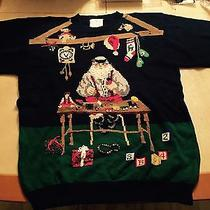 Urban Outfitters Vintage Funny Cute Ugly Christmas Black Sweater Santa Toy L-Xxl Photo
