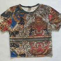Urban Outfitters Women's Velvet Effect Short Sleeved Top Uk Size Small Excellent Photo