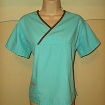 Urbane Scrubs Aqua Blue Scrub Top With Dark Brown Piping Medium Photo