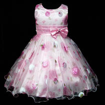 Us2tunp3211-8 Christmas Wedding Gorgeous Pink Fancy Girls Dress Size 3/4y Photo