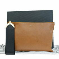 Used Anya Hindmarch Clutch Bag Porch Brown Leather Storage Photo