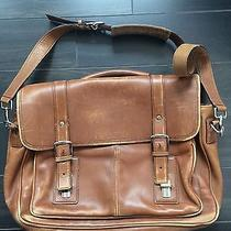 Used Authentic Coach Leather Laptop Satchel Vintage Tan Briefcase Photo