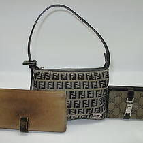 Used Authentic Set Fendi Women Mini Shoulder Bag and 2 Gucci Wallets 173 Photo