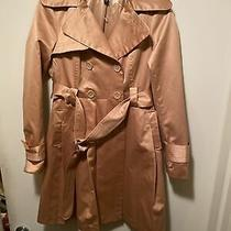 Used Bebe Trench Coat Satin Gold Size Small Excellent Condition Photo