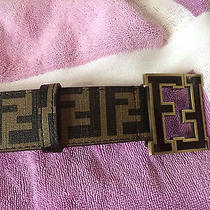 Used Brown Fendi College Zucca Belt Size 48/120 Photo