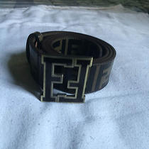 Used Brown Fendi College Zucca Belt Size 50/125 Photo