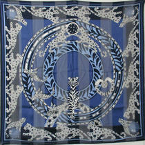 Used Cartier Large-Format Scarf Panther Jewelry Motif Blue System Silk 100 Photo