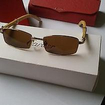 Used Cartier Wood Frame  Sunglasses Blonde Wood Photo