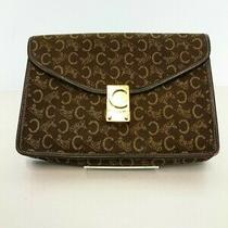 Used Celine Clutch Bag Canvas Brw Total Pattern Photo