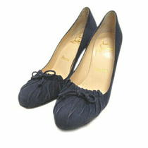 Used Christian Louboutin Suede Heel Pumps Gather Ribbon 36 1/2 Navy Women 'S Photo