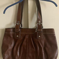 Used Coach Large Leather Solid Brown Tote/hand Bag- F13733 Photo