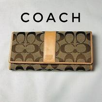Used Coach Leather Signature Canvas Envelope Wallet Photo